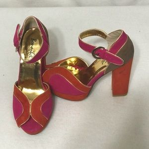 ORANGE PINK 50's PIN-UP ANKLE STRAP HIGH HEAL 7.5